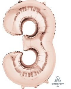 Number 3 Rose Gold Supershape Foil Balloon