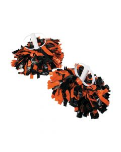 Orange and Black Spirit Show Pom-Poms