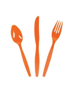 Orange High Count Plastic Cutlery Set
