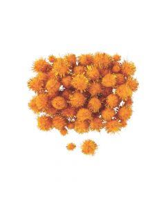 Orange Tinsel Pom-Poms