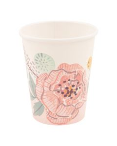 Painted Floral Paper Cups