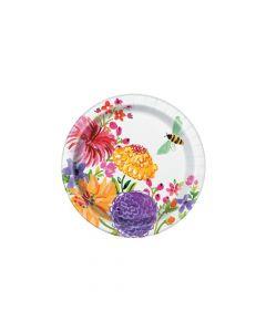 Painted Spring Floral Paper Dessert Plates