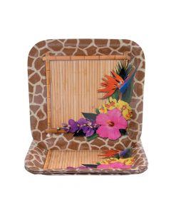 Paradise Safari Square Paper Dinner Plates