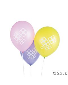 Pastel Colour Brick Party Latex Balloons