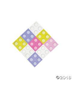 Pastel Colour Brick Party Beverage Napkins