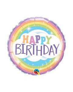 Pastel Happy Birthday Rainbow Mylar Balloon