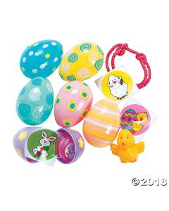Pastel Toy-filled Patterned Plastic Easter Eggs