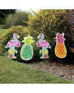 Pineapple and Flamingo Yard Stakes