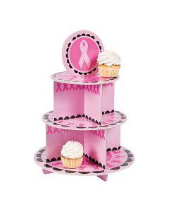Pink Awareness Ribbon Cupcake Stand