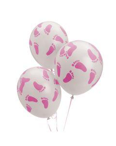 """Pink Baby Footprints 11"""" Latex Balloons"""