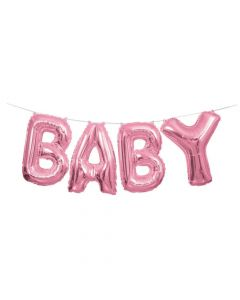 Pink Baby Mylar Balloon Banner