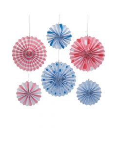 Pink and Blue Paper Hanging Fans