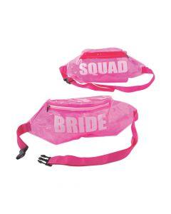 Pink Bride Squad Transparent Fanny Packs