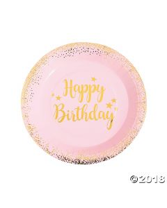 Pink & Gold Birthday Paper Lunch Plates