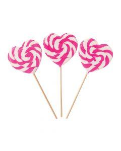 Pink Heart-shaped Swirl Lollipops
