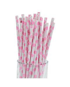 Pink Polka Dot Paper Straws