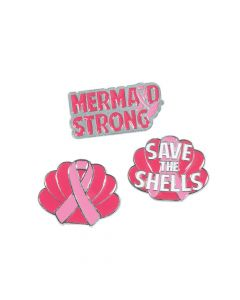 Pink Ribbon Mermaid Enamel Pins