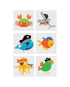 Pirate Animals Temporary Tattoos