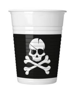 Pirates Black Skull Plastic Cups