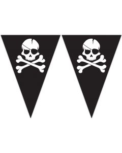 Pirates Black Skull Triangle Flag Banner