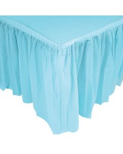 Pleated Light Blue Table Skirt