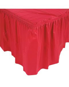 Pleated Red Table Skirt