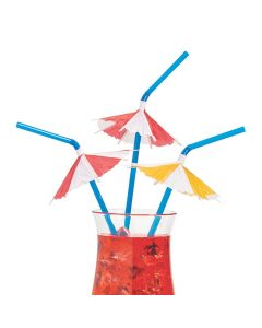 Pool Party Straws with Drink Umbrellas
