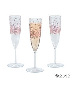 Premium Plastic Rose Gold Dot Champagne Flutes