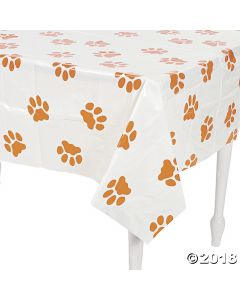 Puppy Paw Print Plastic Tablecloth