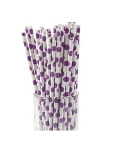Purple Polka Dot Paper Straws