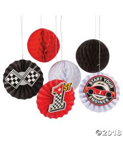 Race Car Birthday Hanging Fans