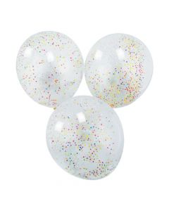 "Rainbow Foam Confetti-Filled 11"" Latex Balloons"