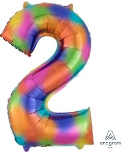 Rainbow Splash 2 Number Shape Balloon