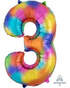 Rainbow Splash 3 Number Shape Balloon