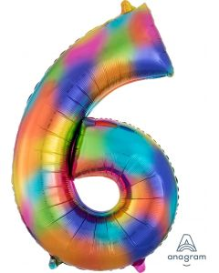 Rainbow Splash 6 Number Shape Balloon