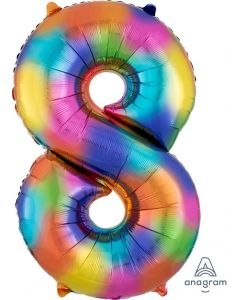 Rainbow Splash 8 Number Shape Balloon