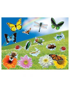 Realistic Bugs and Flowers Sticker Scenes