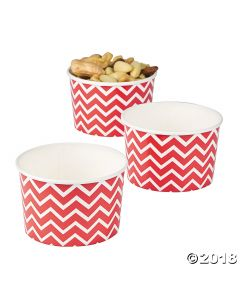 Red Chevron Snack Paper Bowls