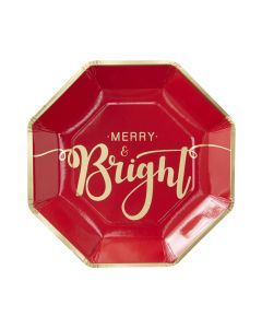 Red & Gold Merry and Bright Christmas Paper Plate