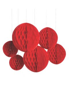 Red Hanging Honeycomb Decorations