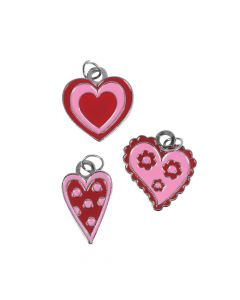 Red and Pink Enamel Heart Charms
