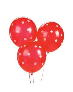 "Red Polka Dot 11"" Latex Balloons"