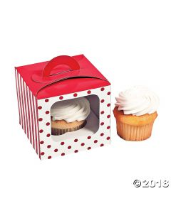 Red Polka Dot Cupcake Boxes with Handle