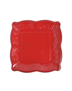 Red Scalloped Edge Paper Dinner Plates