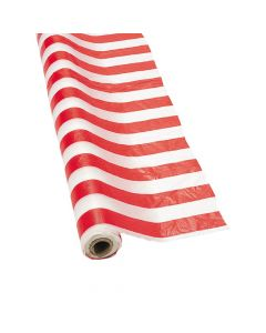Red and White Striped Plastic Tablecloth Roll