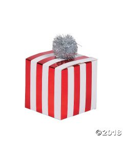 Red & White Striped Pom-pom Treat Boxes