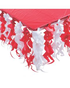 Red and White Swirl Table Skirt
