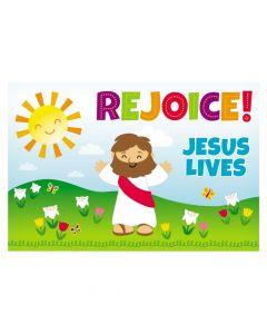 Rejoice Jesus Lives Plastic Backdrop