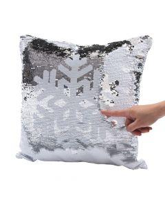 Reversible Sequins Snowflake Pillow