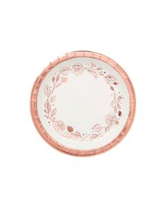 Rose Gold Foil Floral Paper Dessert Plates - 8 Ct.